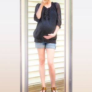 Like-New Motherhood Maternity Sheer Polka Dot Top